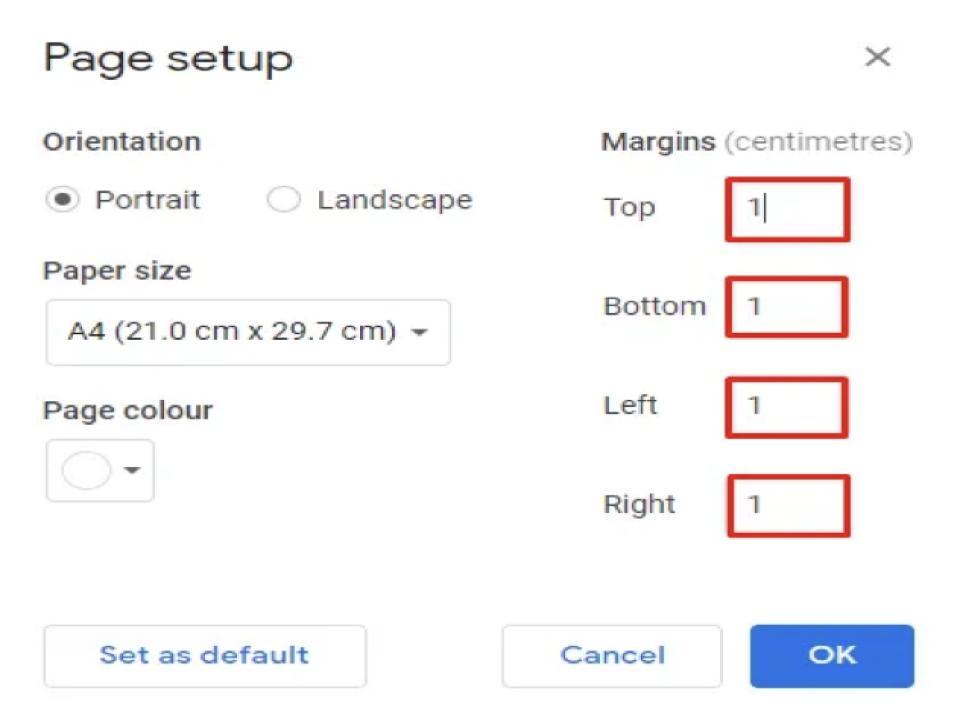 daily tactics guru-margin in google docs